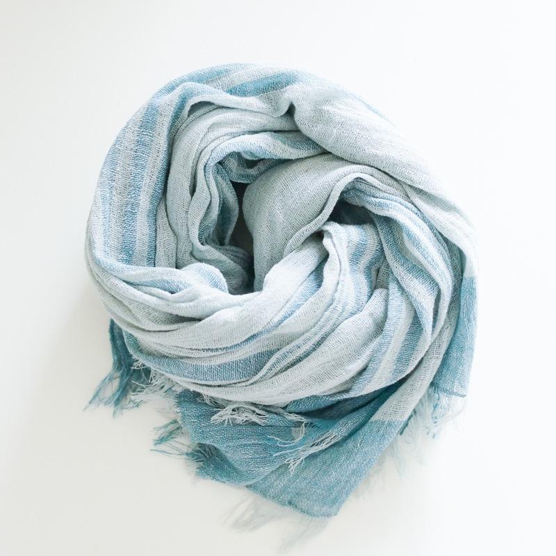 オーガニックコットン手つむぎストール|UVカットストール パネル柄 ブルー/水色