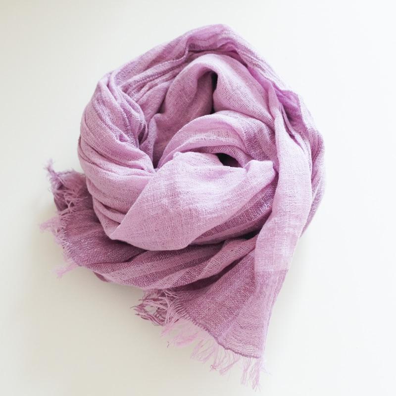 オーガニックコットン手つむぎストール|UVカットストール パネル柄 紫/薄紫