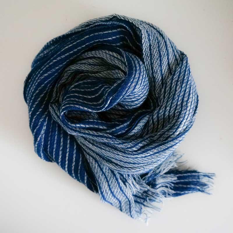 オーガニックコットン手つむぎストール|藍染めUVカットストール/藍