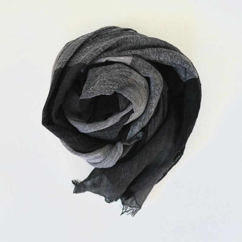オーガニックコットン手つむぎストール|UVカットストール マス柄 黒