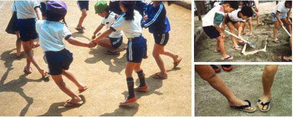 ぞうりを日常的に履いている子どもの画像