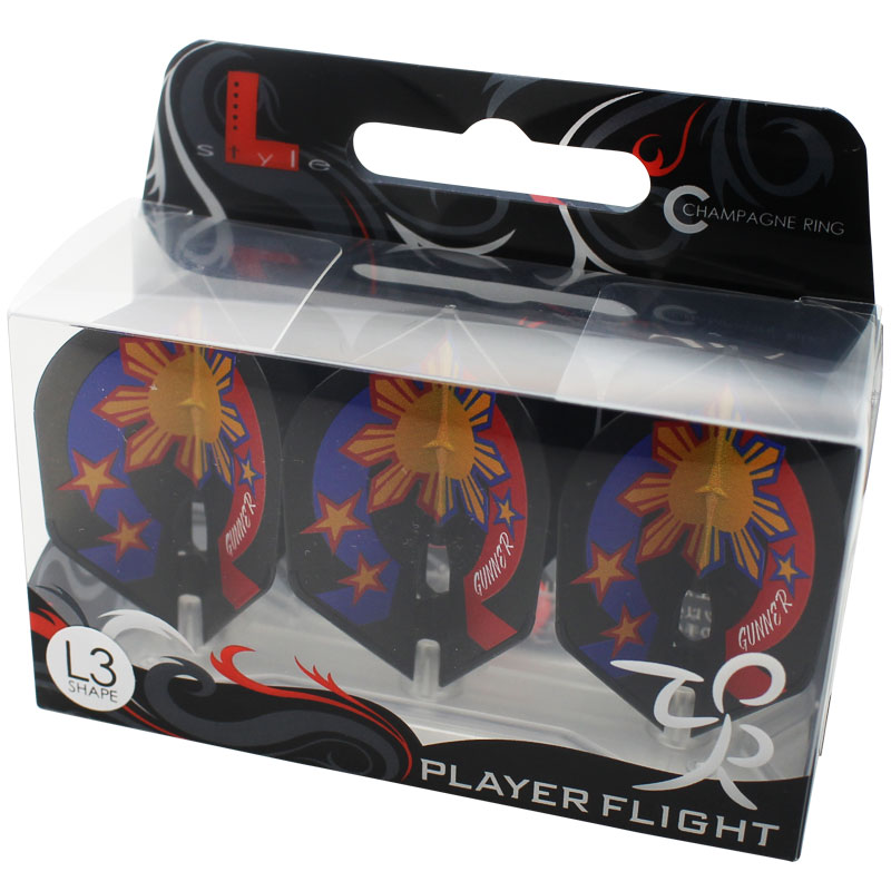 【FlightL】ローレンスイラガン ver3 シェイプ L3 シャンパンリング対応 ブラックベース ダーツフライト