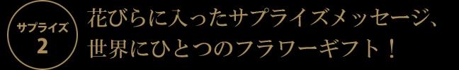 花びらに入ったサプライズメッセージ、世界にひとつのフラワーギフト!