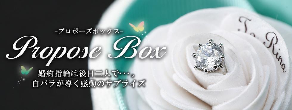 プロポーズボックス 婚約指輪は後日二人で…。白バラが導く感動のサプライズ