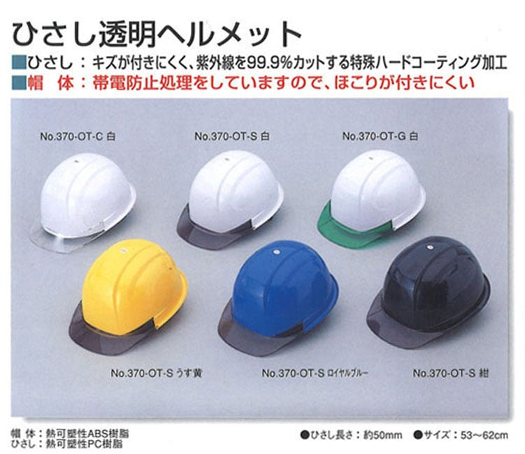 ひさし透明ヘルメット
