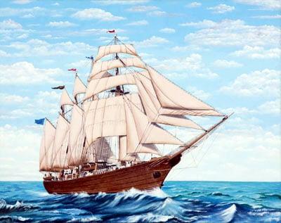 安達 巌 「帆船」 油彩画