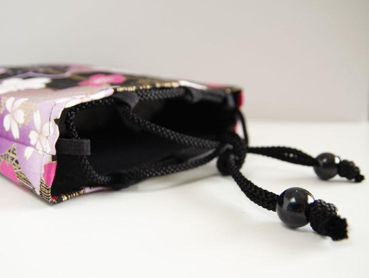 巾着袋 信玄袋【 桜浪漫巾着 黒 】