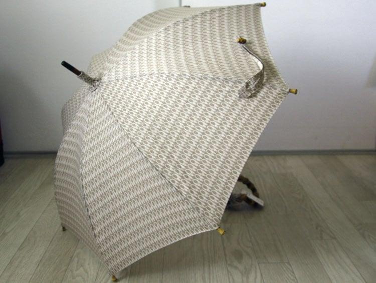 型小紋染 晴雨兼用日傘 UV加工 パラソル 室町はさみ ベージュ