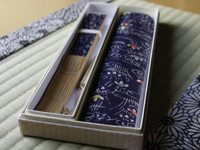 型小紋染 型小紋 ケース付 布扇子 三橋京子
