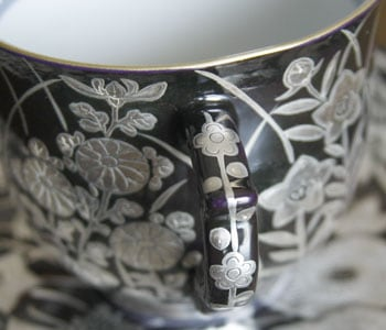 京焼清水焼 銀彩珈琲碗皿