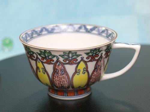 京焼清水焼 幾何紋赤絵小紋碗皿