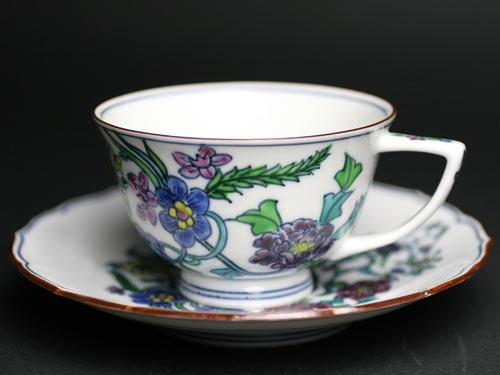 京焼清水焼 豆彩花蝶紋珈琲碗皿