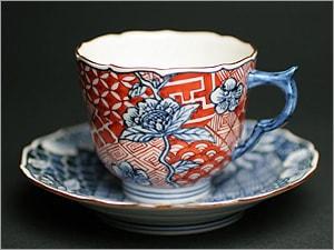 赤絵祥瑞草花紋デミタスコーヒーカップ&ソーサー