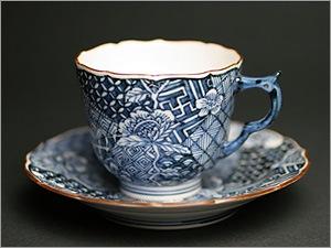 染付祥瑞草花紋デミタスコーヒーカップ&ソーサー