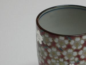 京焼清水焼 湯呑 淡いピンク桜花紋蓋付湯呑 (作家) 双楽窯