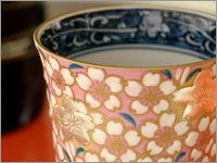 京焼・清水焼 桜花紋ワイングラスピンク