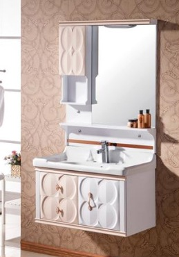 3DPVCパネル施工事例:化粧洗面台の扉の装飾