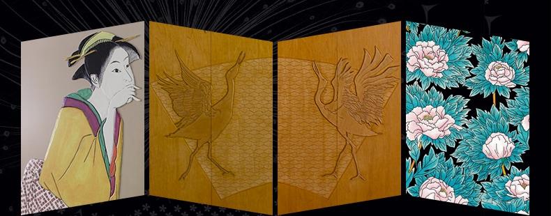 美人画・丹頂鶴・牡丹をモチーフにしたクローゼット扉