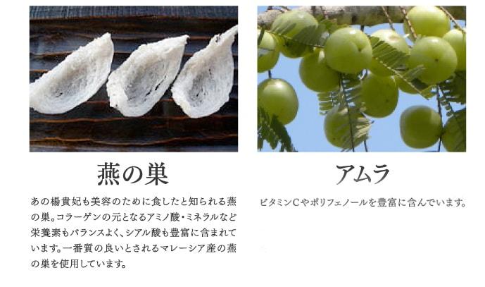 燕の巣 あの楊貴妃も美容のために食したと知られる燕の巣。 アムラビタミンCやポリフェノールを豊富に含んでいます。