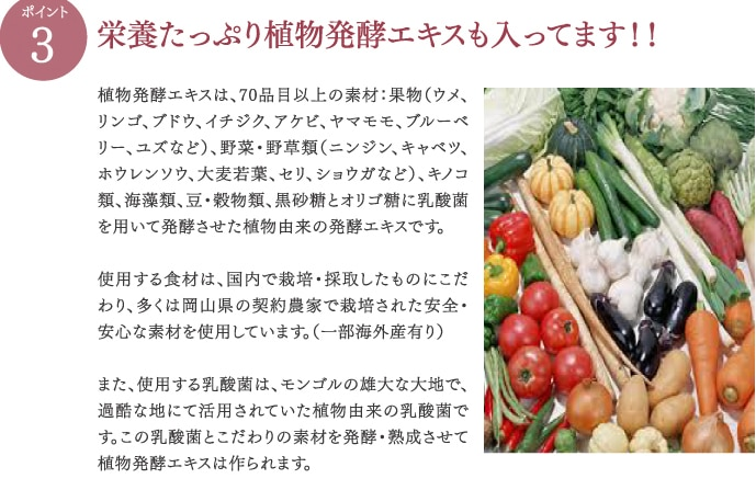 栄養たっぷり植物発酵エキスも入ってます!!