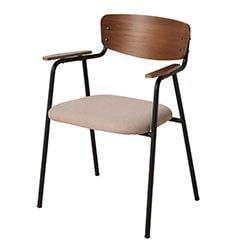肘掛けチェア ダイニング ウォールナット材 am【座面までの高さ44cm】インダストリアル家具