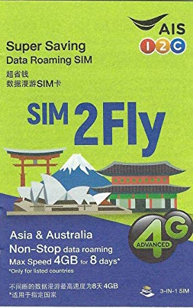 AIS Sim2Fly Simカード 8日間4GBデータ 販売