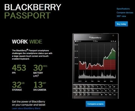 BlackBerry Passport 販売