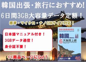 韓国 プリペイド SIMカード、6日間3GBデータ定額の販売・購入