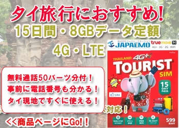 タイ プリペイドSIMカード True 15日8GBデータ定額SIMの販売