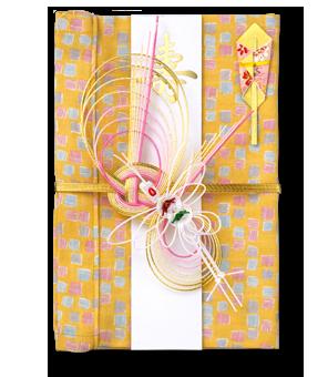 ご祝儀袋 結姫 白梅(コットン)色鉛筆黄