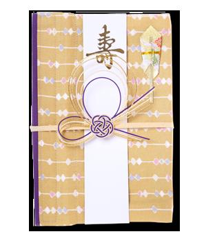 ご祝儀袋 結姫 白梅(コットン)砂色玉珠