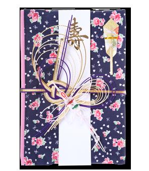 ご祝儀袋 結姫 白梅(コットン)藍福小花
