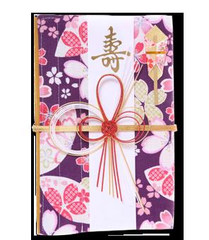 ご祝儀袋 結姫 白梅(コットン)紫葉大花