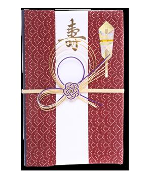 ご祝儀袋 結姫 白梅(コットン)青海波赤