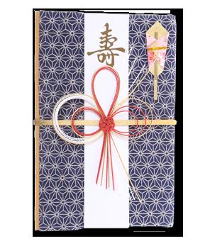 ご祝儀袋 結姫 白梅(コットン)麻乃葉青