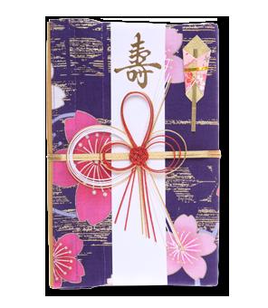 ご祝儀袋 結姫 白梅(コットン)紫群梅斗