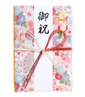 ご祝儀袋 結姫 白梅(コットン)小紋白華 蝶