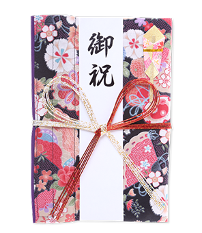 ご祝儀袋 結姫 白梅(コットン)小紋黒華 蝶