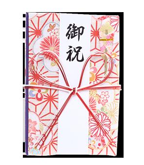 ご祝儀袋 結姫 白梅(コットン)桃色格子 蝶