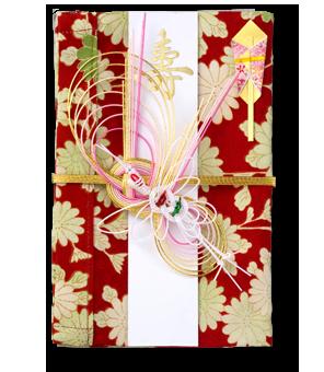 ご祝儀袋 結姫 赤松(シルク)絹紅花