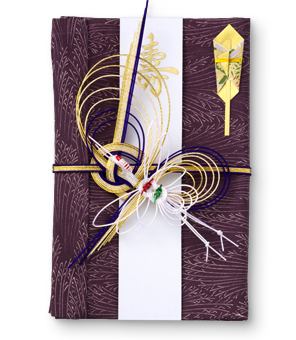 ご祝儀袋 結姫 赤松(シルク)染花紫