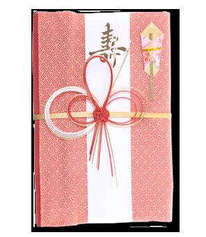 ご祝儀袋 結姫 赤松(シルク)絹織桃柄