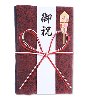 ご祝儀袋 結姫 赤松(シルク)濃赤朱点 蝶
