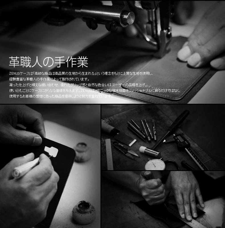 ZENUSのケースは革職人の手作業で製作されています