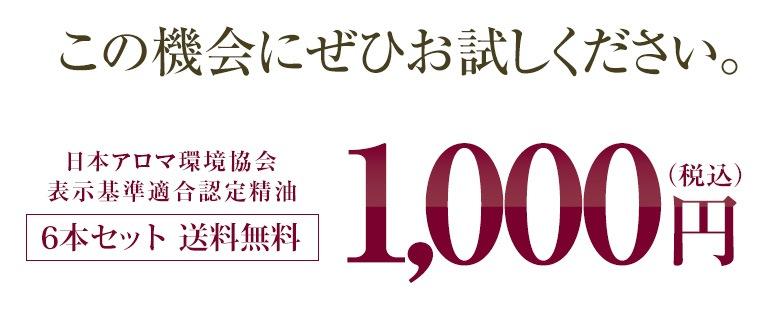 この機会にぜひお試しください。日本アロマ環境協会表示基準適合認定精油 6本セット送料無料 税込990円