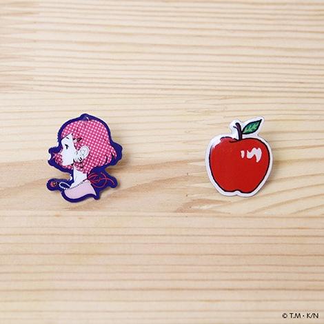 黒髪の乙女とリンゴのピンズセット