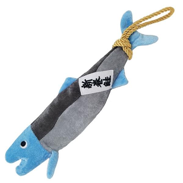綱と鮭どちらを咥えるのが好み?新巻鮭の犬用おもちゃ