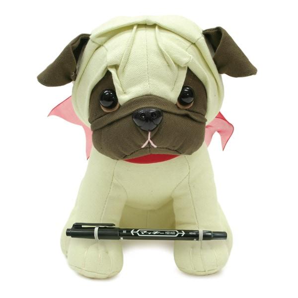 犬のぬいぐるみ型の色紙にメッセージを添えてプレゼント