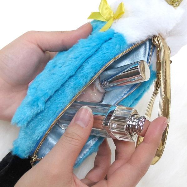 ペンやコスメにお勧めの、セキセイインコ(ブルー)のポーチ。頭にある王冠がワンポイント。ゴルフボールも3個入ります。