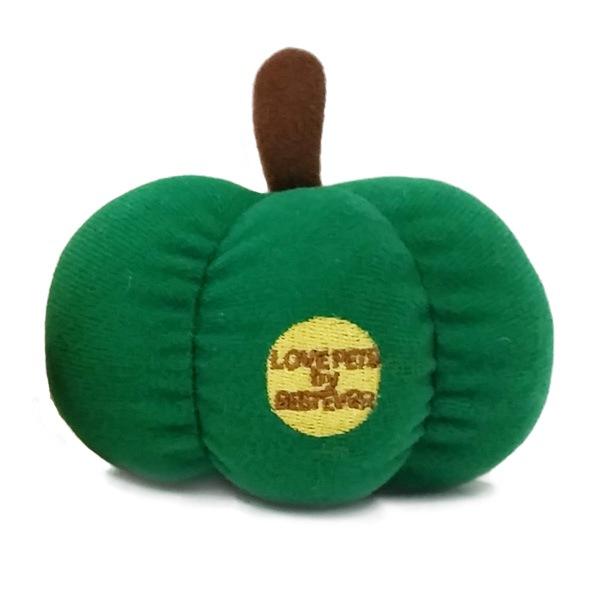 緑のかぼちゃのぬいぐるみペットトイ。半身デザイン。